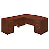 72W x 36D Bow Front L Shaped Desk with 2 and 3 Drawer Pedestals