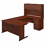 60W x 36D C Leg Bow Front U Shaped Desk with Storage