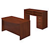 60W x 36D Bow Front Desk with Standing Height Desk and Storage