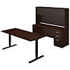 72W Height Adjustable Standing Desk with Credenza and Hutch