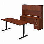 72W Height Adjustable Standing Desk with Credenza and Storage