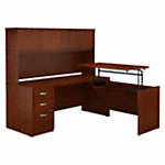 72W x 30D Sit to Stand L Desk with Hutch and File Cabinet