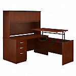 60W x 30D Sit to Stand L Desk with Hutch and File Cabinet
