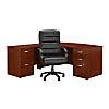 Bow Front L Shaped Desk with File Cabinets and Chair