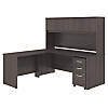 72W x 30D L Shaped Desk with Hutch, Mobile File Cabinet and 42W Return