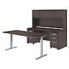 72W x 30D Height Adjustable Standing Desk, Credenza and Storage