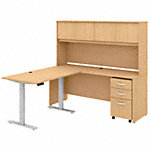 72W L Shaped Desk with Hutch, 48W Height Adjustable Return and Storage