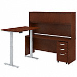 72W Height Adjustable L Shaped Desk with Hutch and Mobile File Cabinet