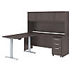 72W x 24D L Shaped Desk, 48W Height Adjustable Return and Storage