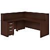 72W L Shaped Reception Desk with Shelf and Mobile File Cabinet
