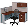 65W x 65D L Shaped Cubicle Workstation with Storage and Chair