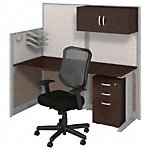 65W x 33D Cubicle Workstation with Storage and Chair