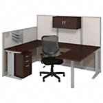 89W x 65D U Shaped Cubicle Workstation with Storage and Chair