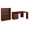Reversible Corner Desk with 3 Shelf Bookcase
