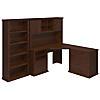 Corner Desk with Hutch, Lateral File Cabinet and Bookcase