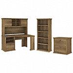60W Corner Desk with Hutch, Lateral File Cabinet and 5 Shelf Bookcase