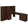 60W L-Desk with Hutch, Lateral File and Bookcase