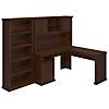 60W L-Desk with Hutch and Bookcase